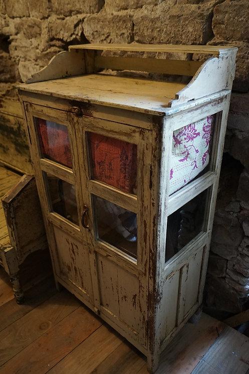 Meuble bois/petite armoire crème vitrine n°43