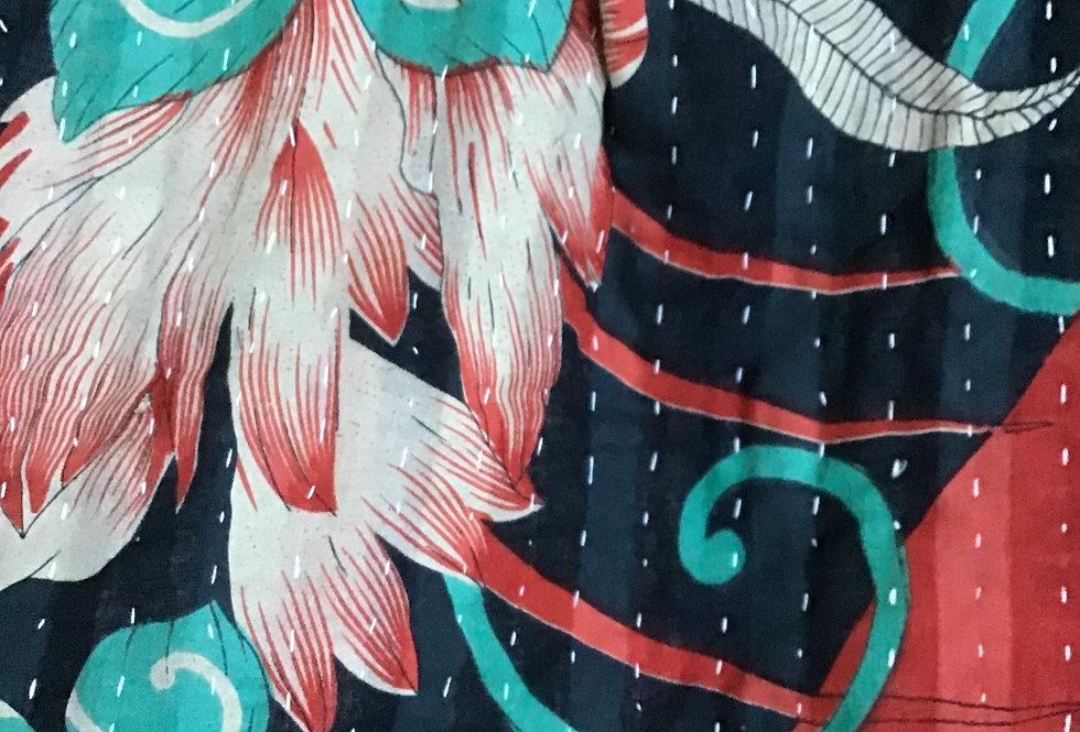 plaid ancien indien/plaid vintage/plaid indien/plaid patchwork/tissu patchwork/bedcover vintage/indian bedcover/bedthrow