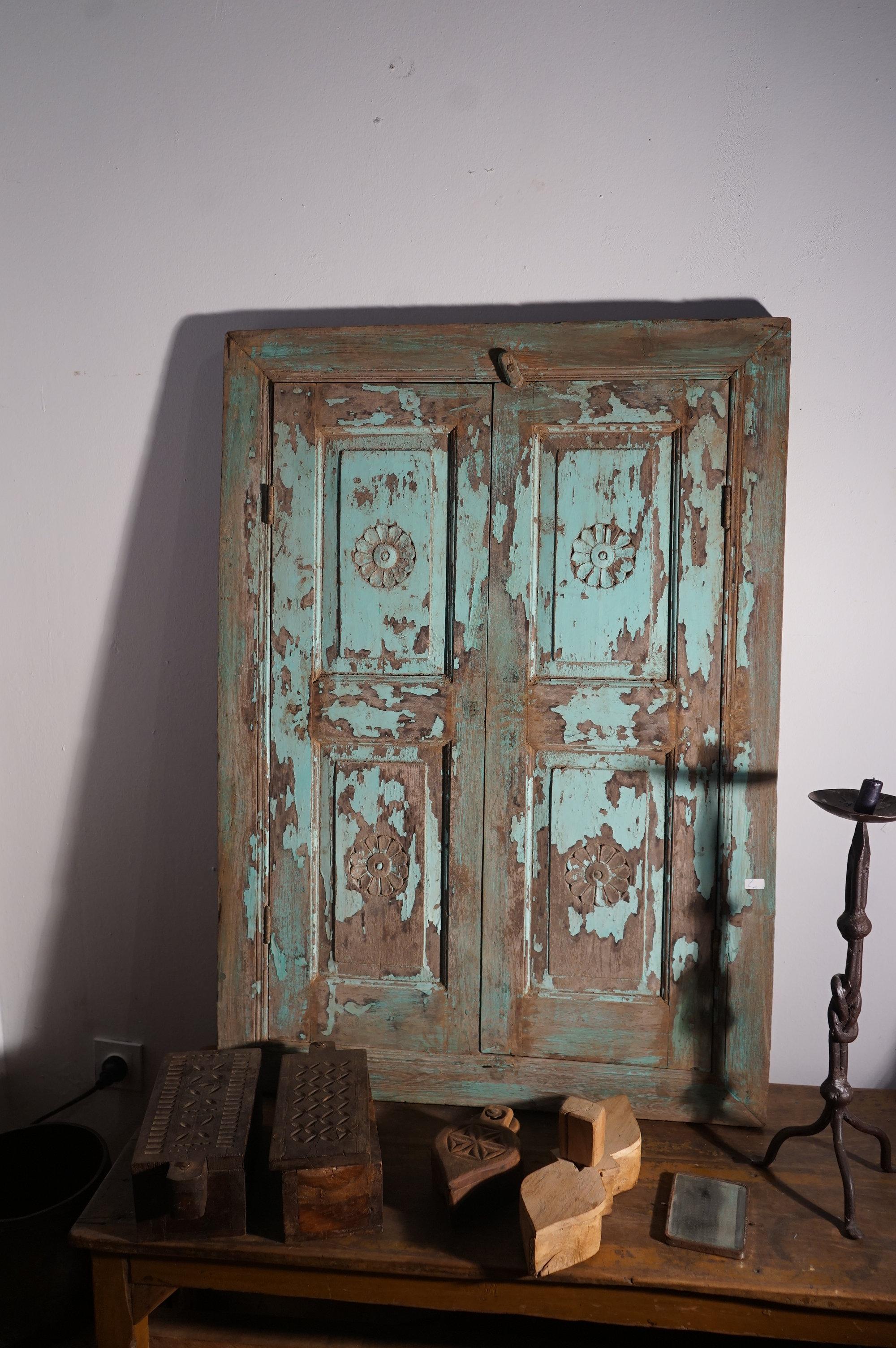 Porte Indienne Ou Fen 234 Tre Volets Bleus Turquoise Caravancafe