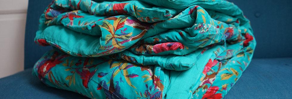 Grand édredon velours (220X220) turquoise/motif oiseaux/réversible coton/velours