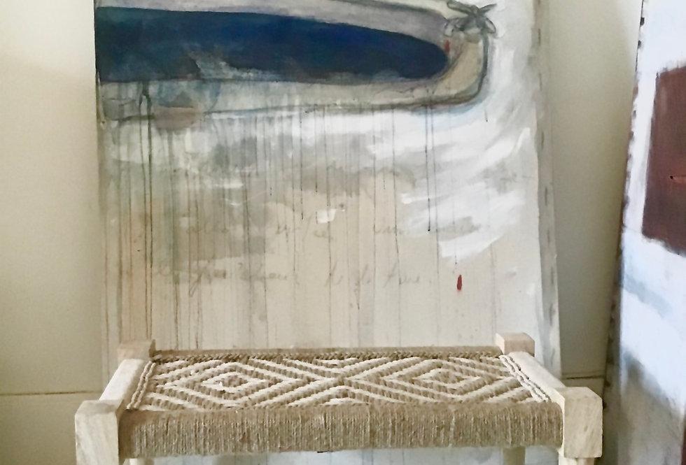 Banc charpoy 80 x 40 cm, blanc & naturel, pieds dévissables, banquette indienne