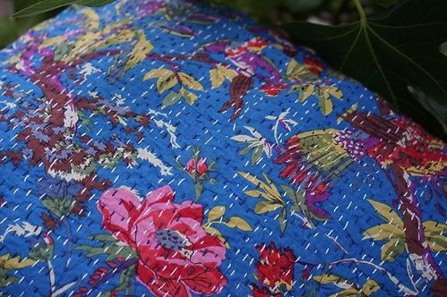 couvre lit fleurs bleu/courtepointe/bouti gris/bouti oiseaux/couvre lit indien/orange quilt bed cover/orange bedcover/tissus