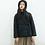 Thumbnail: Veste molletonnée bleu vert manches longues/ coton et lin/col droit
