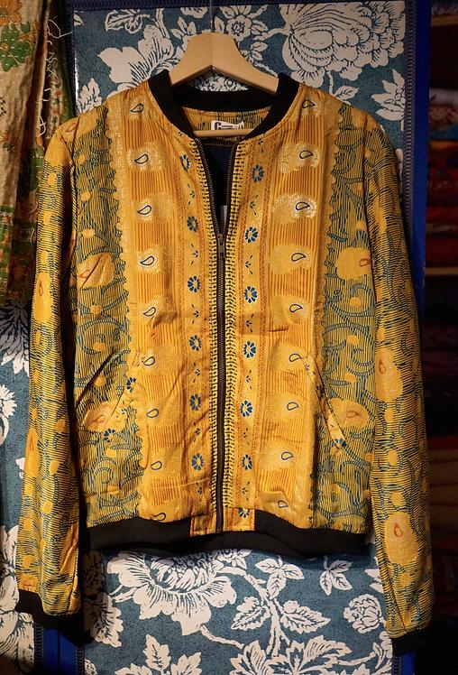 Bomber motif fleurs/bomber bleu/ blouson soie/ethnic chic/vêtements bohème chic/ikks bomber/zenethique/veste reveillon