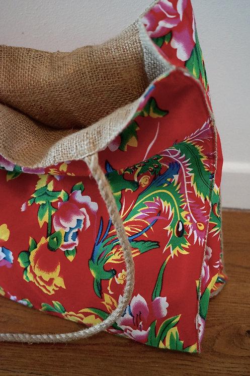 Cabas tissus chinois/ sac tissu pivoines/fond rouge/ coton/ jute