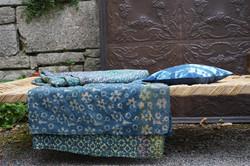 bed cover, couvre lit indigo lit