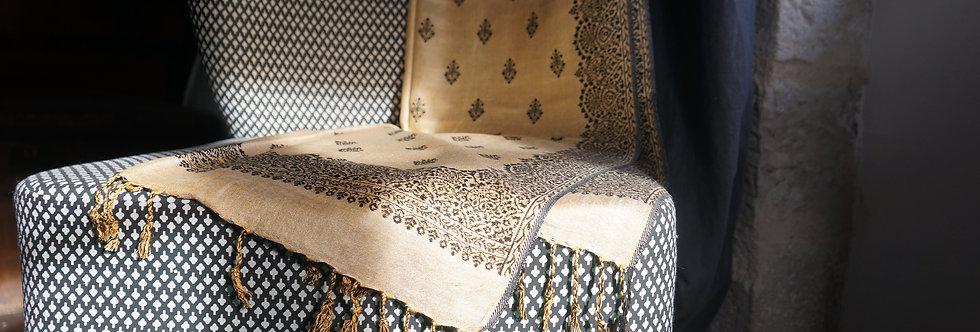 boutique indienne/chale ethnic chic/écharpe inde/en fil d'Indienne/linge-de-maison vintage/bedcover/bedspread/Figeac