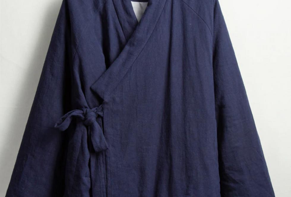 Veste molletonnée unisexe croisée manches longues /top coton et lin/col droit