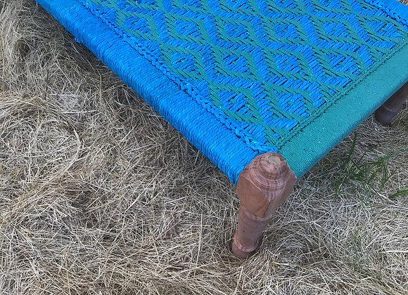 CHARPOY BLEU TURQUOISE ET VERT, lit traditionnel indien, tressage corde coton