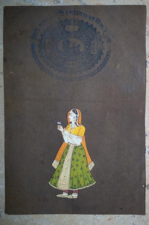 miniature indienne/femme costume indien/miniatures peintes indiennes/meubles indiens/artisanat Inde/art indien/miniature Inde