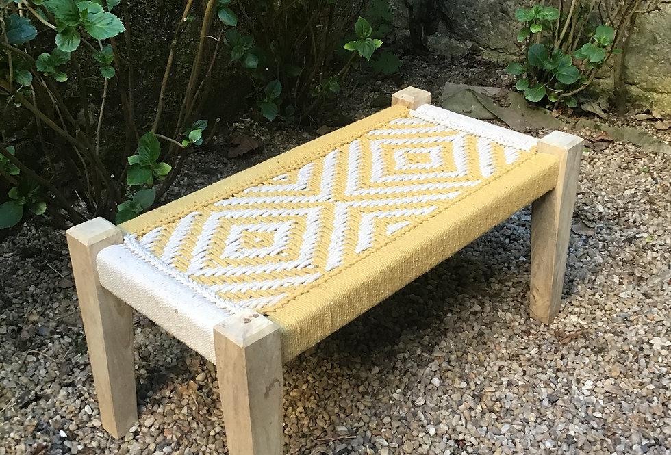 banc charpoy jaune et blanc/banquette indienne/charpoy couleur/charpoy bench/daybed/lit indien/banc tressé/lit tressé/meubles