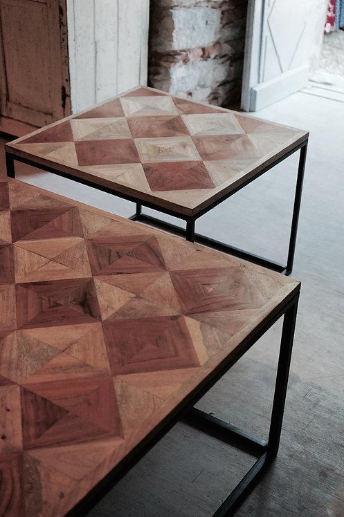 table basse bois et metal/table basse marquetterie/meuble industriel Paris/meubles bois et metal Lot/design bois metal