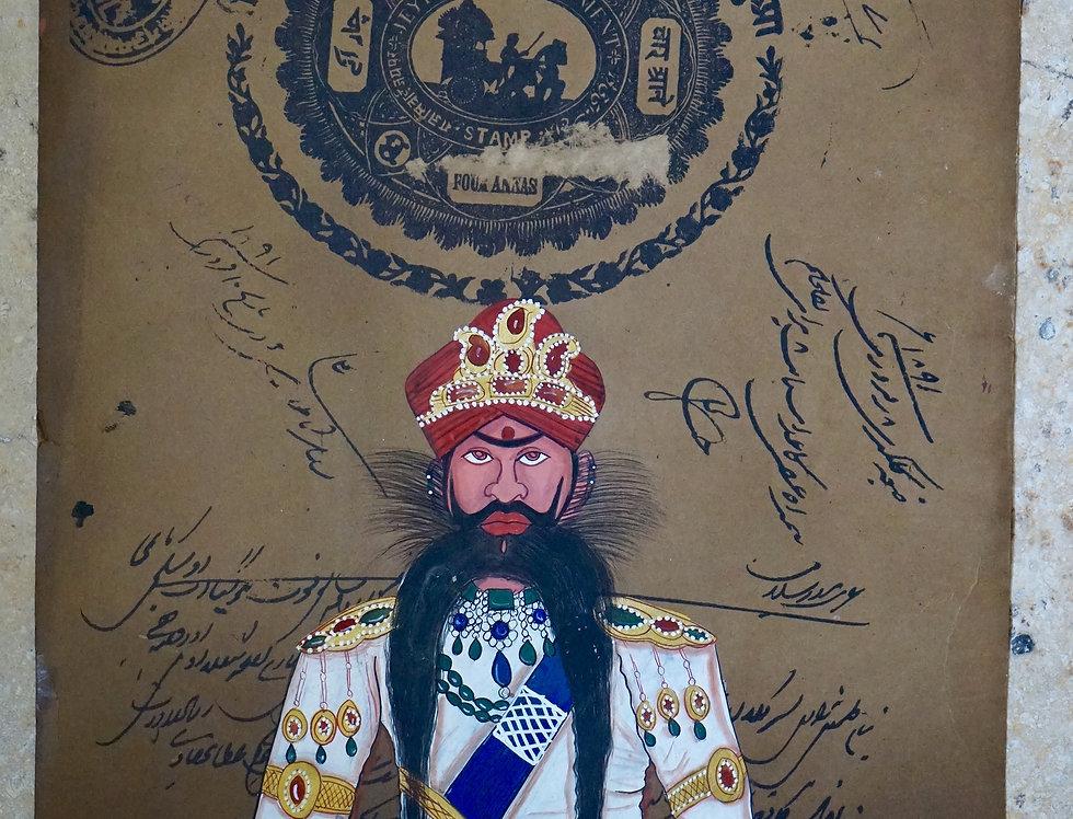 miniature indienne/homme costume indien/miniatures peintes indiennes/meubles indiens/artisanat Inde/art indien/miniature Inde