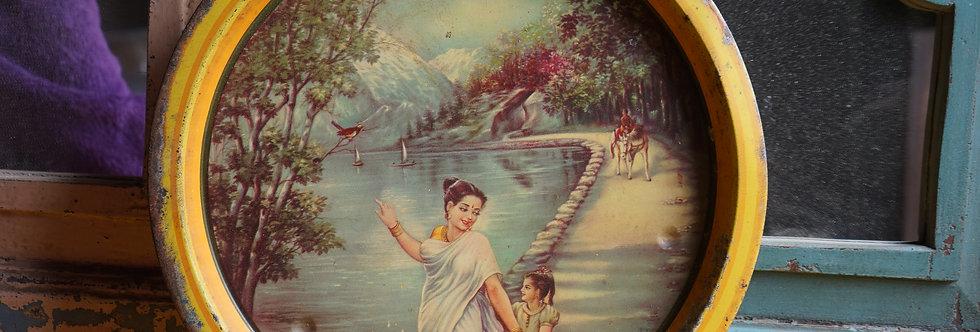 brocante/Figeac/plateau/métal/Inde/déesse/tableau-indien/vintage/kitch/exotique/artisanat-indien/tableaux-Inde/Toulouse
