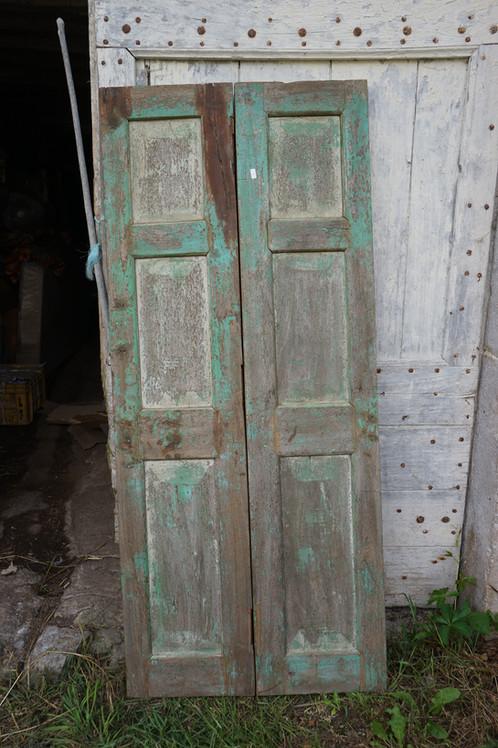 Portes Anciennes Bois Belle Patine Vert Clair N 1