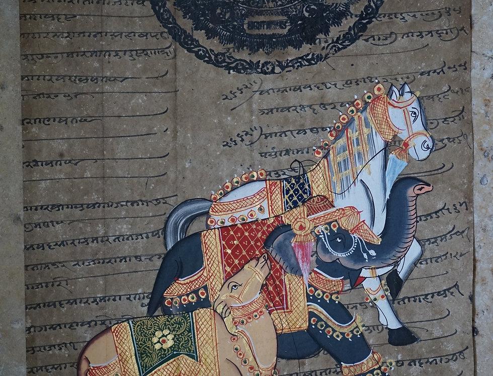 miniature indienne/chevaux/éléphant/miniatures peintes indiennes/meubles indiens/artisanat Inde/art indien/miniature Inde