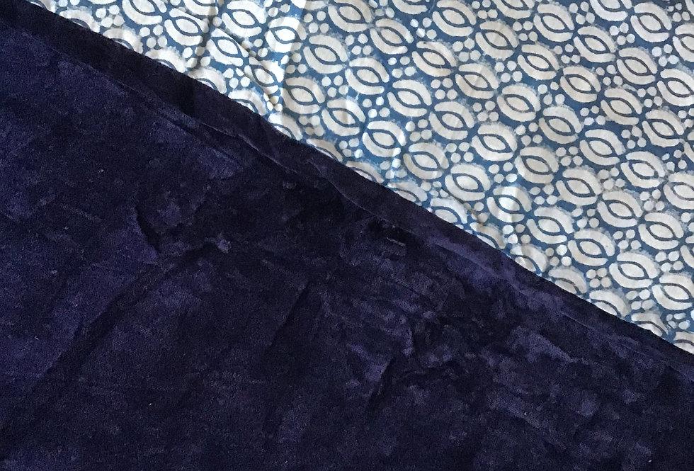 Édredon velours bleu/édredon réversible/édredons coton velours /édredon/édredon velours coton/édredon/courtepointe/plaid