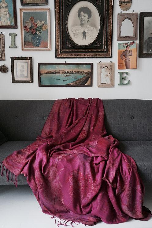 couvre lit soie et laine/arbre de vie/châle soie et laine/couvre lit indien/silk and wool bedcover/pink bedcover/tissus inde/