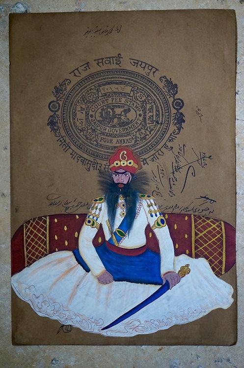 Miniature indienne/costume traditionnel indien/Maharajah/Rajasthan