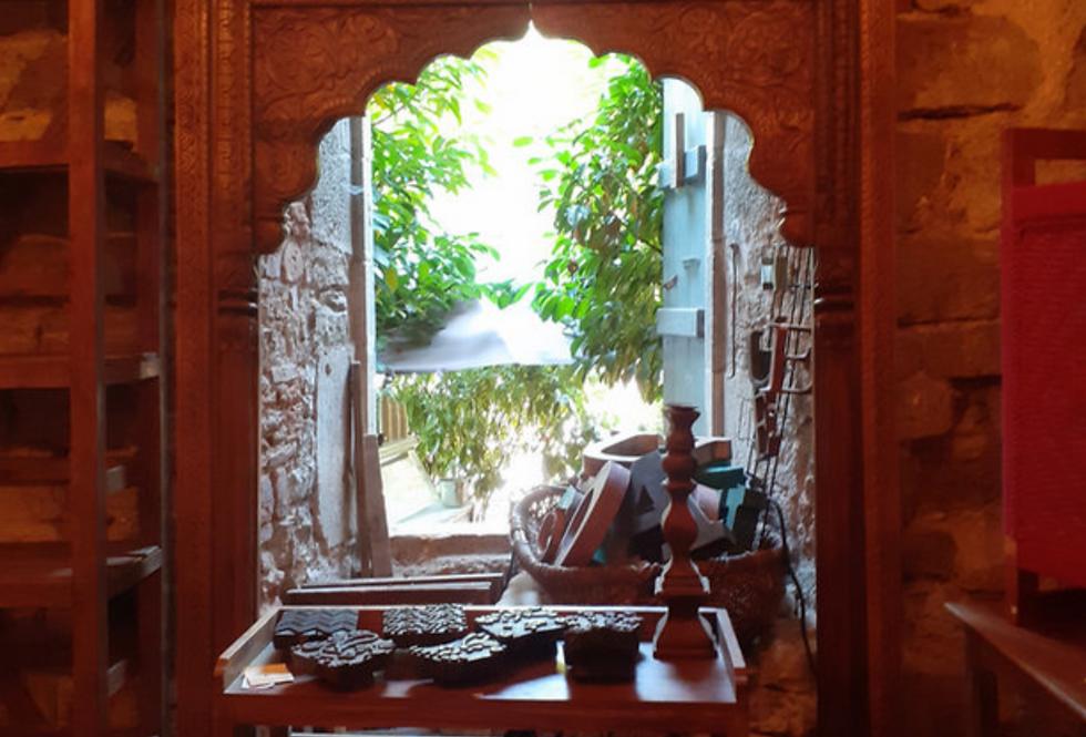 Arche bois sculptée/décor indien/architecture maison inde/porte sculptée inde