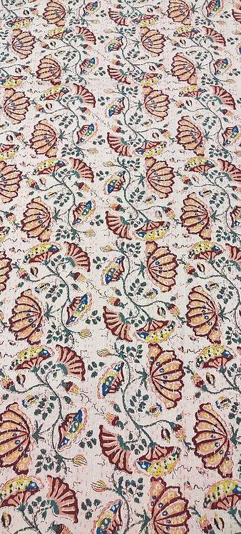 Couvre lit (bedcover) motif fleurs orientales/bed cover oriental flowers
