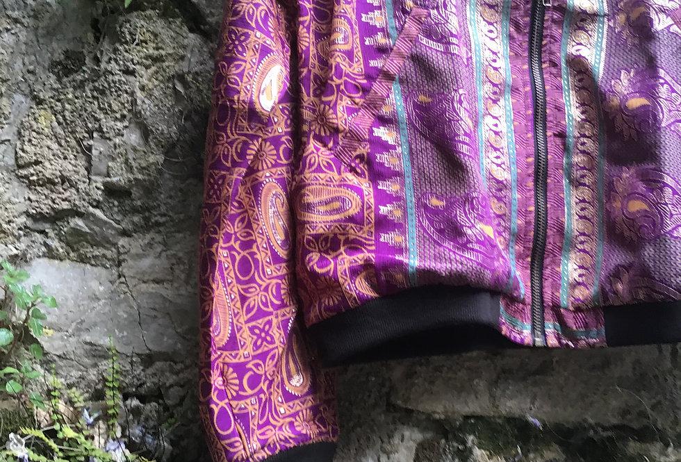 Bomber en soie/blouson vintage/ blouson soie/ethnic chic/vêtements bohème chic/ikks bomber/zenethique/veste reveillon
