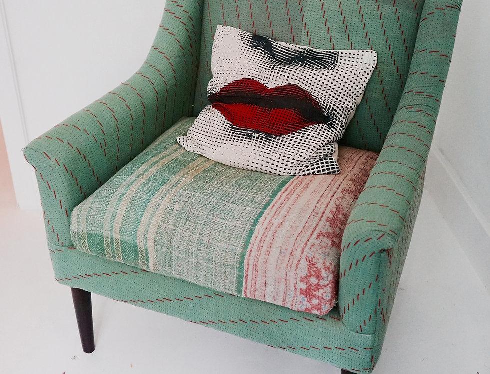 Fauteuil tissu ancien/fauteuil tissu vintage/fauteuil vert tissu vintage