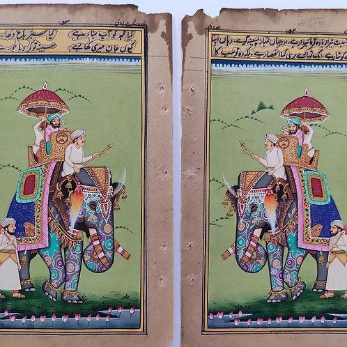 Miniature indienne peinte à la main/tradition Inde/Palanquin/éléphant