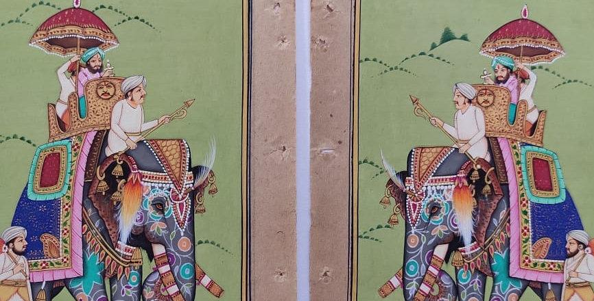 Lot 2 miniatures indiennes peintes à la main/tradition Inde/Palanquin/éléphant