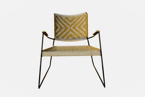 Chaise jardin ou intérieure/ chaise charpoy tressée jaune et naturel