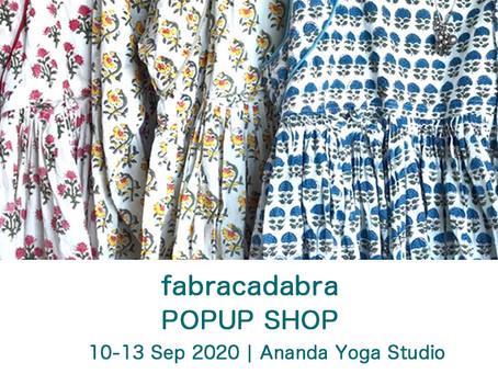 fabracadabra POP UP shop【9月10日-13日】~ブロックプリントと白い刺し子のお洋服~