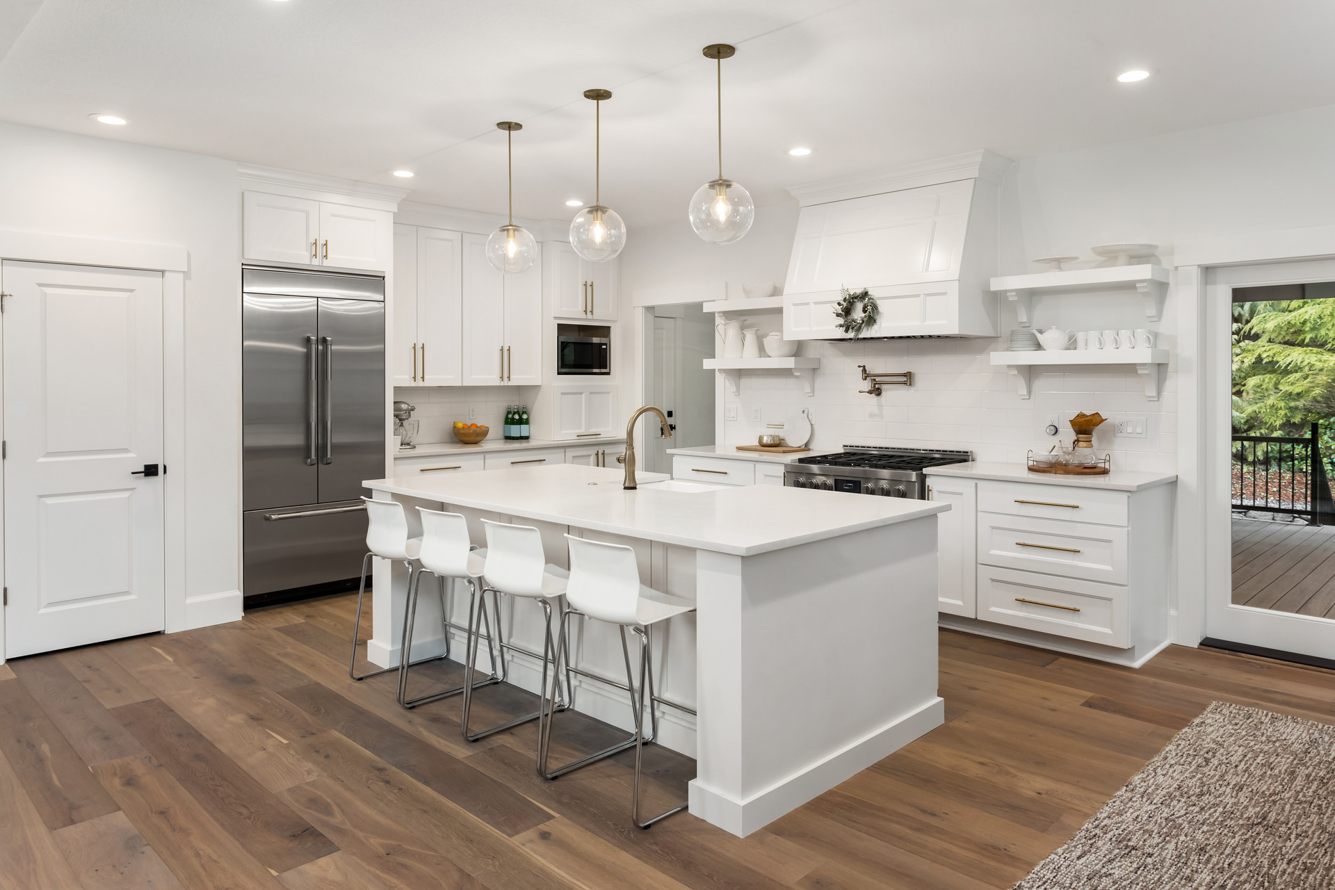 beautiful white kitchen in new luxury ho