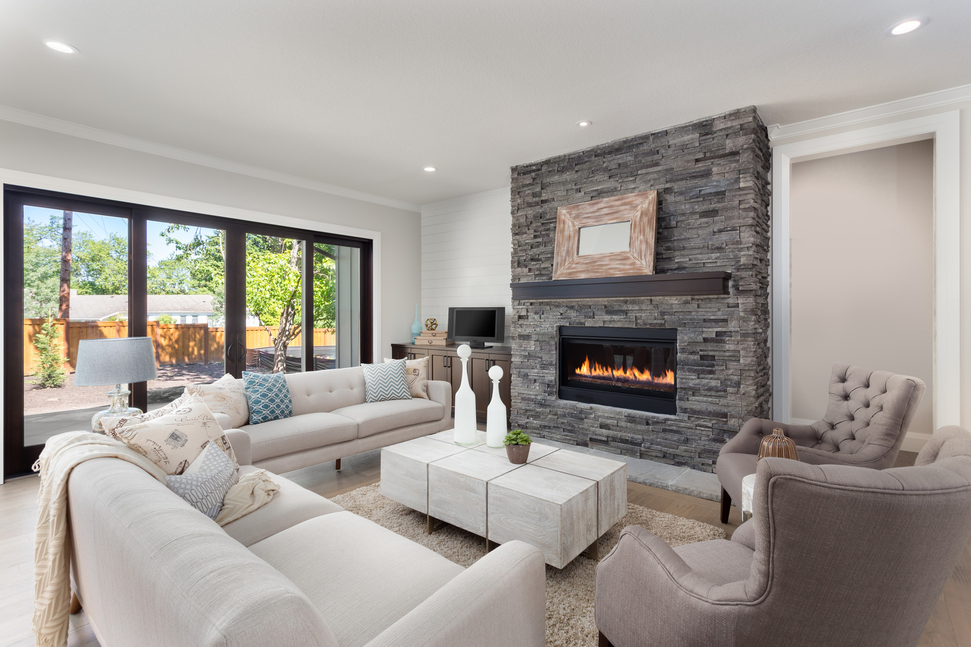 Living room interior in new luxury home