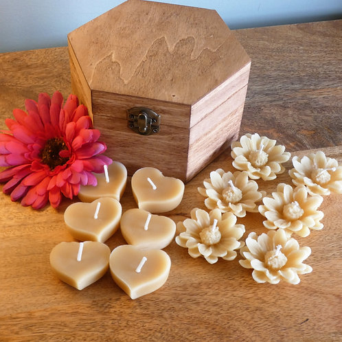 12 Mixed Solid Heart and Flower Floating Beeswax Candles in Hexagonal Wooden Gift Box [Perfect Gift]
