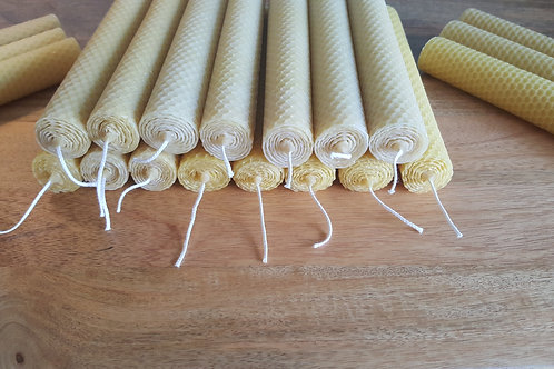 Medium Hand Rolled Beeswax Taper Candles [Plain and Simple Range]