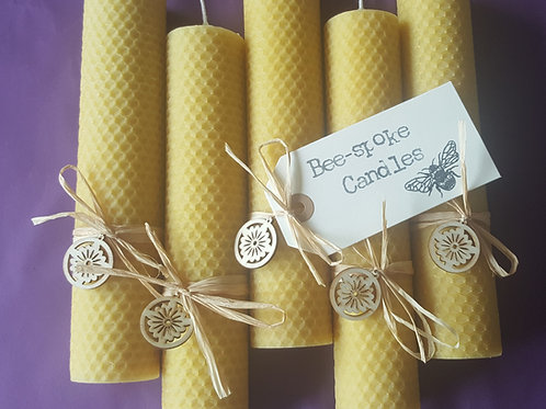 5 Extra Large Hand Rolled English Beeswax Candles Bundle [Perfect Gift]