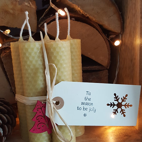5 Small Hand Rolled English Beeswax Taper Candles [Christmas Gift]