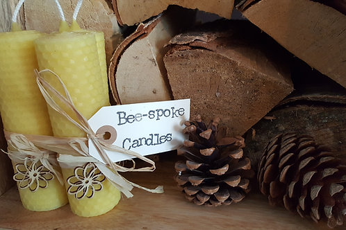3 Extra Large Hand Rolled English Beeswax Candles Nature Inspired [Perfect Gift]