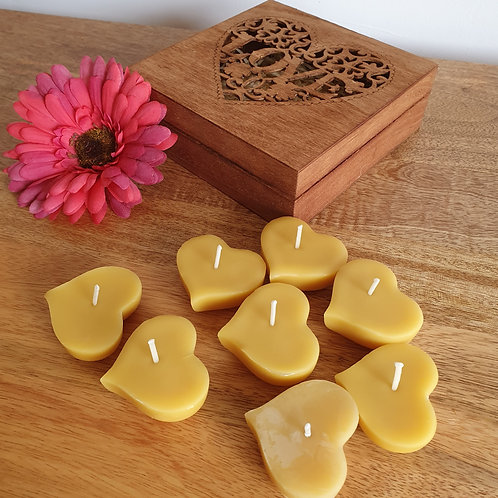 8 Solid Heart Floating Beeswax Candles in Gift Box [Perfect Gift]