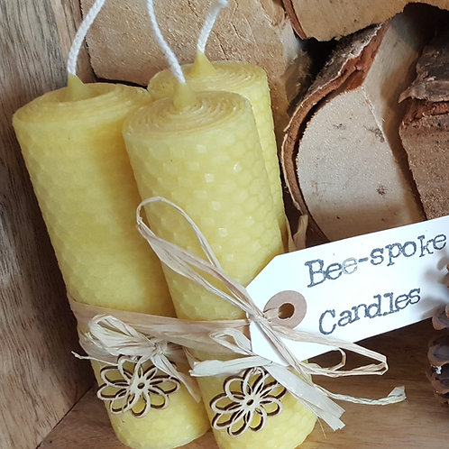 3 Large Hand Rolled English Beeswax Candles Nature Inspired [Perfect Gift]