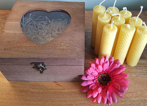 Wooden Gift Box Beeswax Candles from the UK Now in Stock