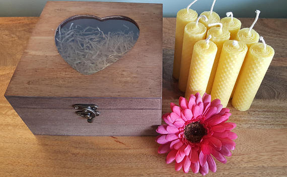 Beeswax Candles in Wooden Gift Box