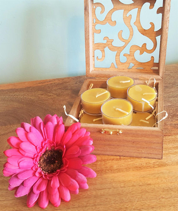 Wooden Gift Box Beeswax Tealights Candles