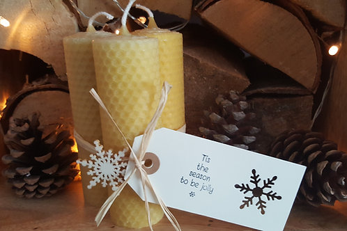 3 Large Hand Rolled English Beeswax Candles [Christmas Gift]