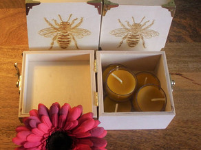 Wooden Gift Box Beeswax Tealights from the UK Now in Stock