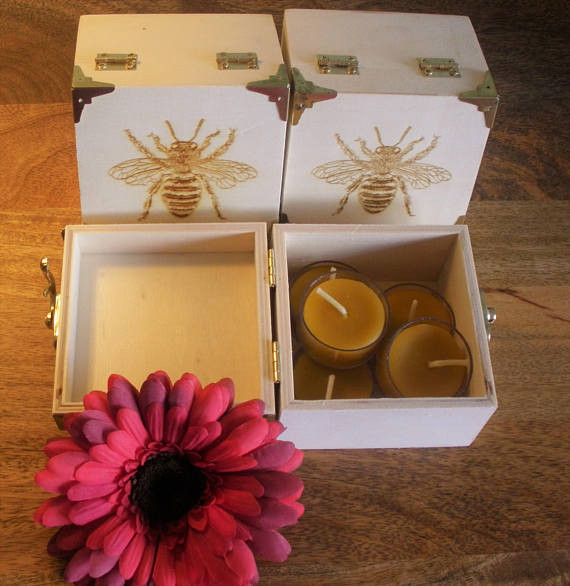 Beeswax Tealight Candles in Wooden Gift Box