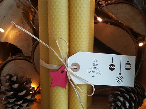 5 Medium Hand Rolled English Beeswax Taper Candles [Christmas Gift]