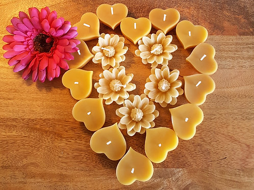 12 Floating Solid Heart and Flower Floating Beeswax Candles [Lifestyle Gift]