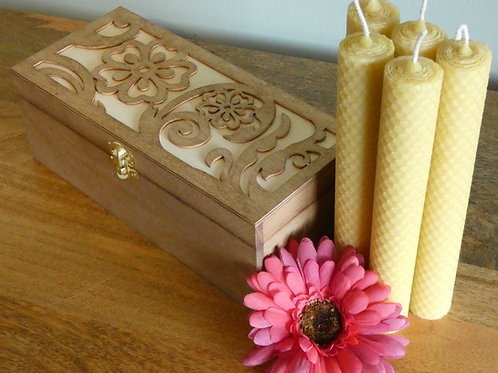 5 Medium Hand Rolled English Beeswax Taper Candles In Flower Wooden Gift Box [Perfect Gift]
