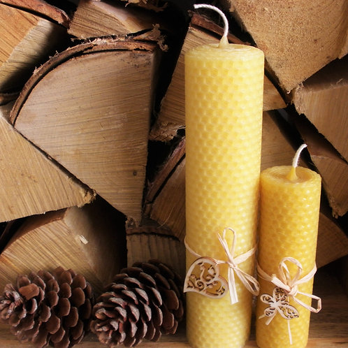 2 Extra Large Hand Rolled English Beeswax Candles Gift Pack [Perfect Gift]